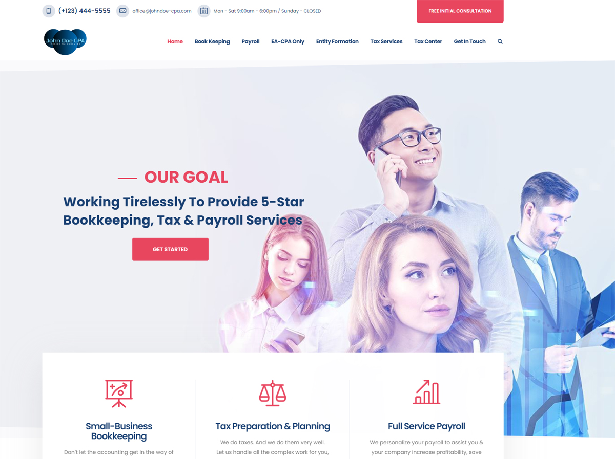 accounting website designs ideas